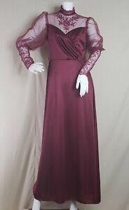 Vintage 70s JCPenney Women's Long Dress Sz 10 Victorian Burgundy Lace Collar
