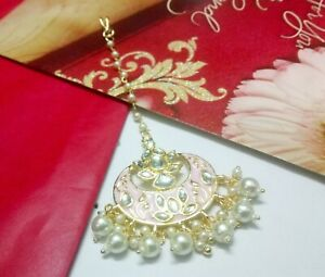Pink Bridal Kundan Maang Tikka Gold Plated Wedding Pearls Head Piece Jewelry