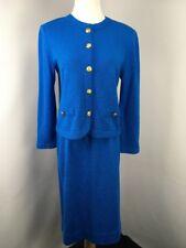 Castleberry Womens Vintage Two Piece Knit Skirt Suit Size 12 Blue Button Front