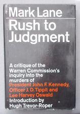 1966 RUSH TO JUDGEMENT Mark Lane CRITIQUE ON WARREN REPORT Kennedy Assassination