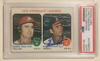 NOLAN RYAN STEVE CARLTON 1973 Topps Signed Autographed Baseball Card PSA/DNA