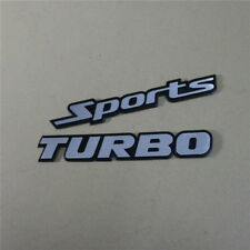 Silver TURBO + Sports Metal Sticker Badge Decal Racing Car suv Engine awd Emblem