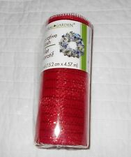 "6"" 5 Yd Red Wide Mesh Olefin Ribbon Garland Valentine Indoor Outdoor Christmas"