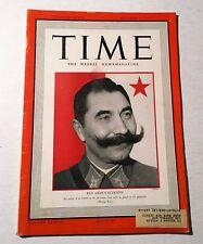 Vintage Time Magazine October 13 1941 Back Issue Red Army's Budenny WWII News