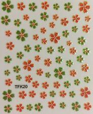 Nail Art 3D Decal Stickers Flowers Glittery Orange & Green TFK20
