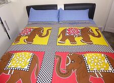 Indian Royalty Inspired Elephant Print Tapestry Bedspread Throw Cotton Bed Cover