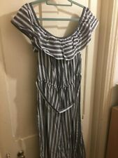 Striped Peasant Style Dress Off-the-shoulder UK 20 Grey & White BNWT