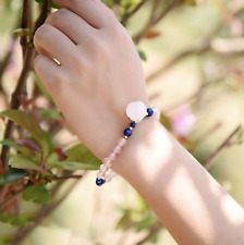 6mm Pink Beads and Pink Quartz Flower Bracelet