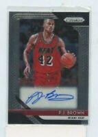 P.J. BROWN 2018-19 Panini Prizm Signatures Auto Autograph S-PJB Miami Heat