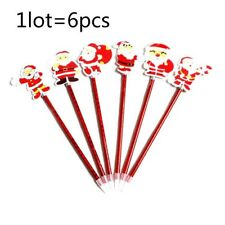 6Pcs Cute Santa Claus Ball-point Pen Students Stationery Kids' Christmas Gifts
