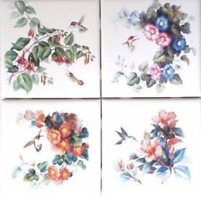 "HUMMINGBIRD WITH FLOWERS CERAMIC TILE 4.25"" x 4.25"" KILN FIRED DECOR SET OF 4"