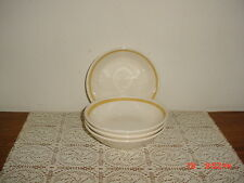 "4-PIECE ROYAL CHINA ""CAVALIER"" 6 3/8"" SOUP-SALAD BOWLS/GOLD/YELL-WHT/STONEWARE!"