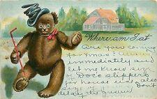 Vintage Postcard Teddy Bear in a rumpled Top Hat