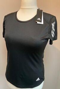 Women's Adidas Own the Run Tee Size M (12-14) Black T-shirt White Stripes