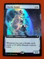 1x Worthy Knight | FOIL Extended Art | Throne of Eldraine | MTG Magic Cards