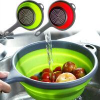 Plastic Folding Colander Drain Basket Fruit Vegetable Washing Strainer/Kitchen