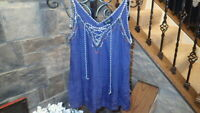 NEW Jessica Simpson Womens Junior Shirt Top Blouse Blue SIZE Small Pretty Cute!