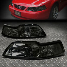 FOR 1999-2004 FORD MUSTANG PAIR SMOKED HOUSING CLEAR CORNER HEADLIGHT/LAMP SET