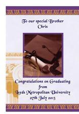 LAUREA CONGRATULAZIONI A5 carta personalizzata University graduazione fratello sorella