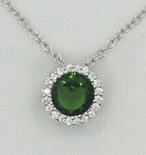 Cheryl M Sterling Silver Simulated Emerald & CZ Pendant - Gift Boxed