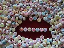 Round White Alphabet Beads Mixed Colour Letters A to Z x 4 sets