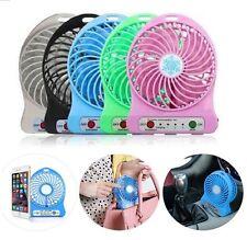 6 Colors 3 Speed Portable Mini Fan USB Safe Rechargeable Li Battery LED 2400mAh