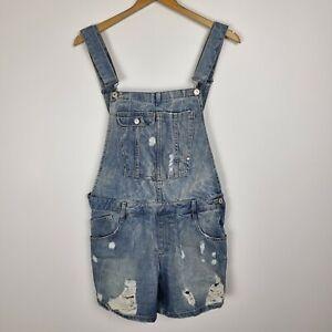 Zara Denim Overalls Shorts Size M Blue Distressed