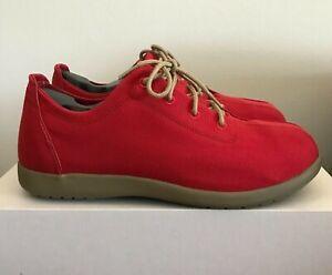 Mens Size 11 CROCS Venture Canvas Lace Up Shoes Khaki/Chili Red