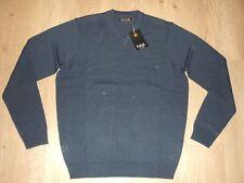Farah V Neck Wool Blend Navy Knit Sweater Jumper Cardigan Navy Blue M New