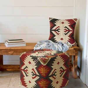"""Kilim Wool Jute Indoor Outdoor Cushion Cover 18"""" Living Room Ottomans Floor Pouf"""