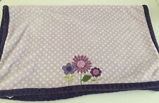 CARTERS PURPLE FLOWER BABY BLANKET WHITE POLKA DOTS PLUSH FLORAL LILAC