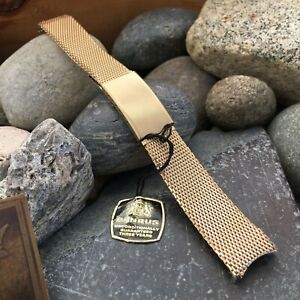 Benrus Sea Lord 10k Gold-Filled Mesh nos with hang tag Vintage Watch Band 18mm