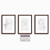 Line Art Prints Set of 3 Minimalist Botanical Abstract Giclee Home Decor Art