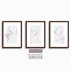 Line Art Prints Set of 3 Minimalist Botanical Abstract Giclee Home Decor Art