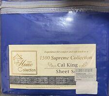 4 Pc Soft Navy Blue 1500 Series Bed Sheet Set, Deep Pockets, California King