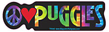 Peace Love Puggle Tie Dye Hippie Dog Car Decal Sticker