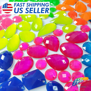Neon Stones, Colorful Resin Rhinestones in Different Shapes, Sold by the Pack