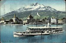 Schiffe 1918 Schweiz Stempel Luzern auf alter Postkarte mit Schiff UNTERWALDEN