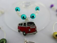 WINE GLASS RINGS  VW Combi Van Charms with coloured beads - set of 6