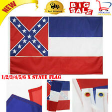 HEAVY COTTON 3 X 5 MISSISSIPPI STATE FLAG DOUBLE SIDED SEWN & EMBROIDERED STARS