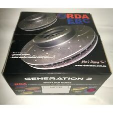 Front RDA Dimpled Slotted Brake Disc Rotors (Pair) RDA502D