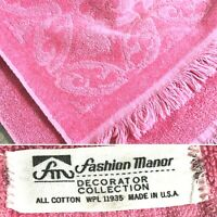 """Vintage Pink Fashion Manor Cotton Bath Towel Made in USA 40""""x21"""""""