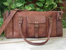 Vintage Large Square Genuine Leather Duffle Travel Bag
