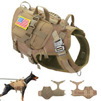K9 Dog Tactical Training Harness Police MOLLE Vest Soft Mesh Harness & Pouch Bag