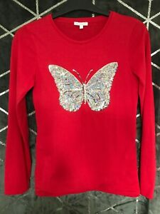 BLUE ZOO RED COLOUR T-SHIRT 100% COTTON BUTTERFLY DESIGN ON FRONT AGE 12-13