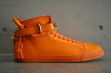 Buscemi 100mm Leather Mid Top Sneaker - Orange/Gold 40 EUR 6 UK