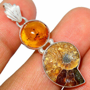 """""""Fossil"""" Ammonite & Amber 925 Sterling Silver Pendant Jewelry BP54579 XGB"""