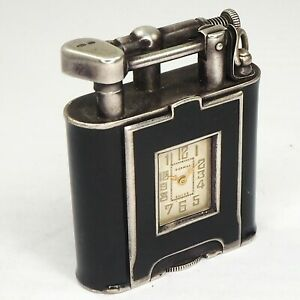 DUNHILL Lighter Art Deco black enemal with watch- Silver 925 - England very rare