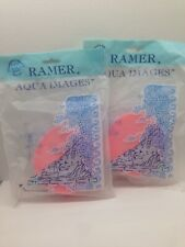2 New Pink Ramer Aqua Images Neptune Oval Sponge Roman Bath Made in England