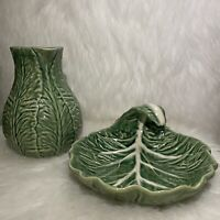 """Bordallo Pinheiro Green Cabbage Leaf Pottery Pitcher 6"""" Portugal And CabbageLeaf"""